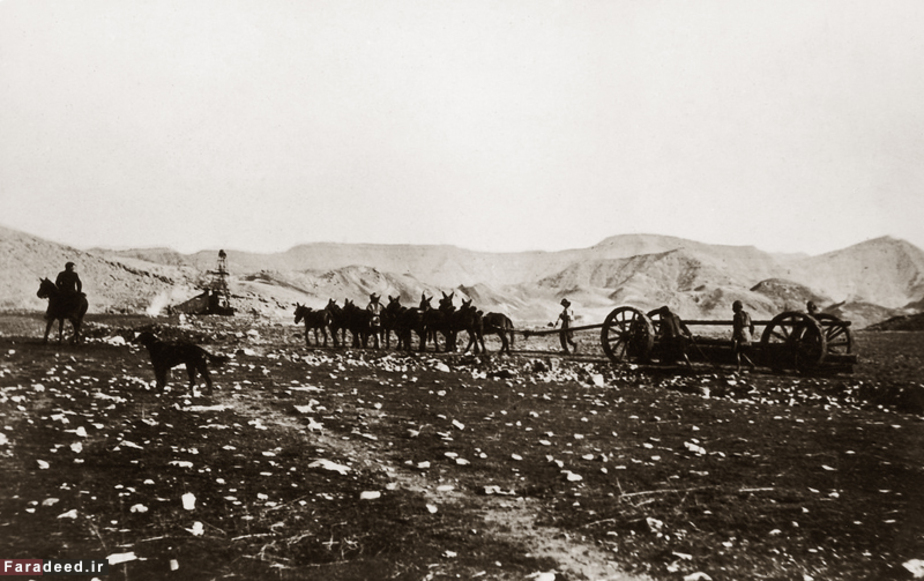 حمل و نقل تجهیزات حفاری در مسجد سلیمان. سال 1911