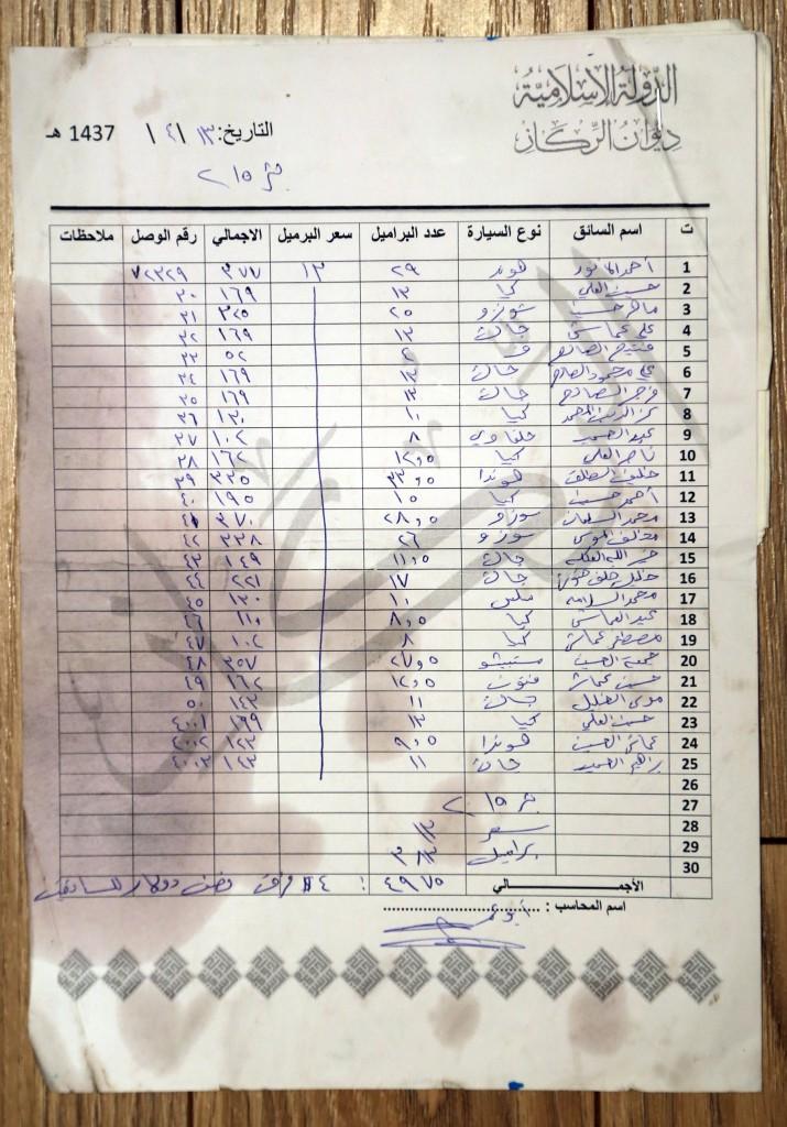 فهرست رانندگان و کامیون های حمل کننده نفت از اراضی تحت کنترل داعش