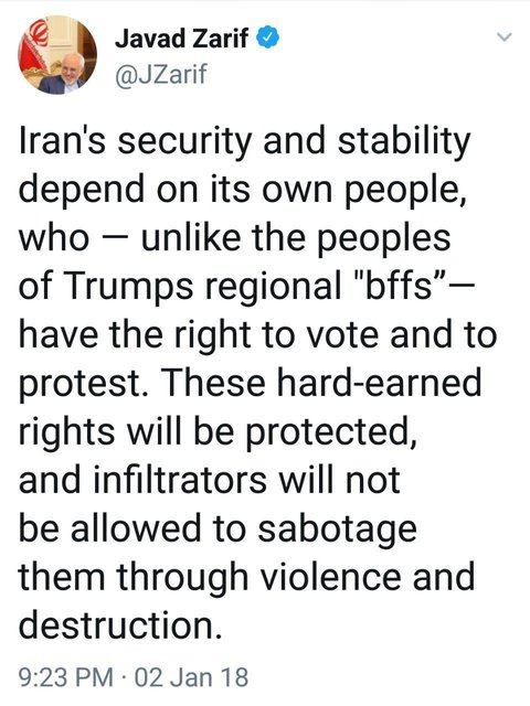 واکنش ظریف به دخالتهای اخیر کاخ سفید در امور داخلی ایران