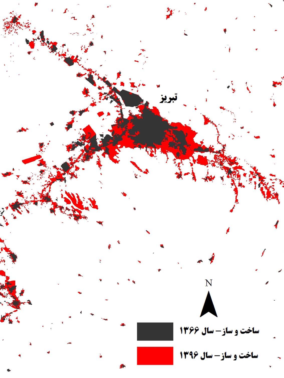 مساحت تقریبی محدوده شهر تبریز و اطراف آن در سال 1366، حدود 91.6 کیلومتر مربع