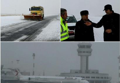 فرودگاه تبریز با وجود بارش سنگین برف باز است/ پرواز شیراز – تبریز – شیراز باطل شده است