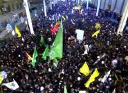 شعارهای تکان دهنده مردم در حرم مطهر علوی در تشییع شهیدان