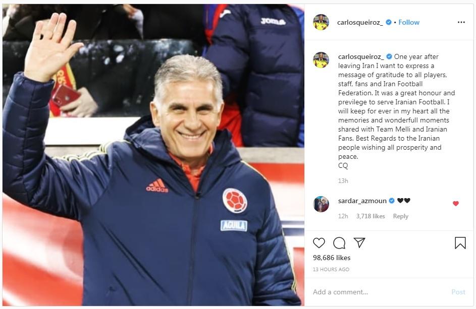 پیام کیروش یک سال بعد از ترک تیم ملی فوتبال ایران