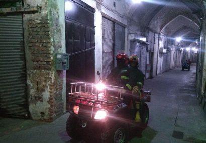 استقرار گشت موتوری آتش نشانی در بازار بزرگ تبریز در ماه مبارک رمضان