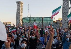 جشن پیروزی هواداران آیتالله رئیسی در تهران/ «به کوری بی بی سی، رای ما شد رئیسی»